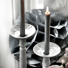 Theme of the Month: Ceramics. These lovelies by Vestergården. Candle Holders, Candles, Ceramics, Gray, Interior Design, Beautiful, Home Decor, Ceramica, Nest Design