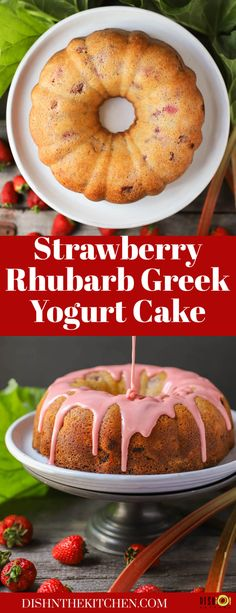 In this fruity Greek Yogurt Cake, strawberries and rhubarb combine with yogurt to make an incredibly moist Spring themed bundt cake. #GreekYogurtCake #cake #bundtcake #strawberryrhubarbcake Delicious Cake Recipes, Best Dessert Recipes, Yummy Cakes, Fun Desserts, Sweet Recipes, Cupcake Recipes, Strawberry Rhubarb Cake, Greek Yogurt Cake