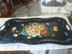Antique Very Large Handpainted Toleware Metal Floral Tray