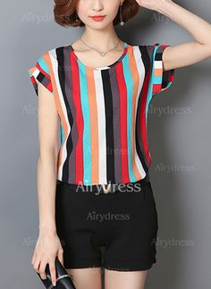 Specifications Product Name: Colorful Vertical Striped Cuffed Sleeve Blouse Weight: Sleeve: Short Sleeve Sleeve Type: Cuffed Sleeve Material: Polyester Cheap Blouses, Blouses For Women, Blouse Styles, Blouse Designs, Casual Dresses, Fashion Dresses, Fashion Blouses, Shirt Bluse, Short Sleeve Blouse