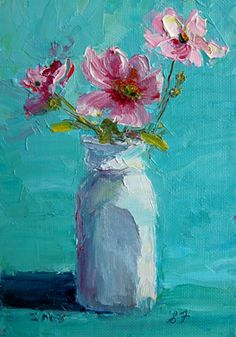 "#17 in the 30 Paintings in 30 Days Challenge, ""White Bottle Pink Flowers"" 7 x 5 in. oil on panel. Buy through my web site."
