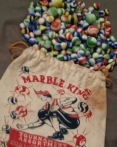 Original Marble King marble bag with Marble king marbles. Marble Bag, Marbles Images, Marble Pictures, Childhood Memories, Childhood Toys, Glass Frog, Glass Marbles, Displaying Collections, Lost & Found