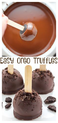 So easy and super decadent, these Chocolate Oreo Truffles are a hit year-round! Makes a great gift for any Oreo cookie lover! Oreo Truffles Recipe, Truffle Recipe, Chocolate Truffles, Chocolate Chocolate, Chocolate Lovers, Köstliche Desserts, Delicious Desserts, Dessert Recipes, Yummy Food