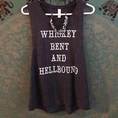 """Sassy tank top Literally BRAND NEW. Worn to try on but was too small. """"Black slub"""" colored tank top. Whiskey bent and hellbound is what it says on the tank. Ordered this offline but it was too small for me and I didn't want to ship it back. Perfect for country concerts! Would fit anyone below a size 38D lol. Size medium. NOT urban outfitters, just labeled for exposure! Urban Outfitters Tops Tank Tops"""