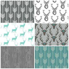 Modern Woodland Baby Bedding Set, 3 Piece Set, Crib Sheet, Crib Skirt, Bumper, Charcoal Grey and Teal, Deer, Plus, Boy Nursery on Etsy, $155.00