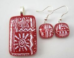 Handmade Dichroic Glass Pendant & Earring Set  Mola Art  Red & Silver DIchro - Great dichroic glass set and priced at just $39.99!