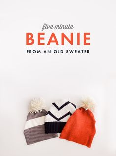 Five Minute DIY Beanie (from an old sweater!)