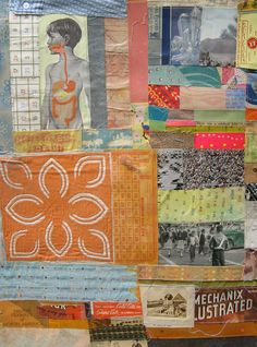 Mechanix . . . sewn collage on paper by ericaharris on Etsy