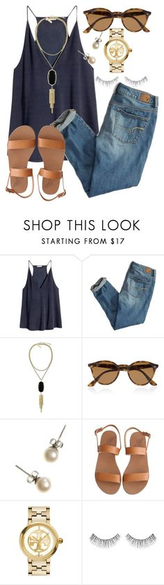 """So close to 550!!"" by calliejanee ❤ liked on Polyvore featuring H&M, American Eagle Outfitters, Kendra Scott, Ray-Ban, J.Crew, Ancient Greek Sandals, Tory Burch and NARS Cosmetics"