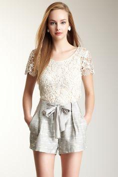 Greylin Metallic Trim Lace Knit Top