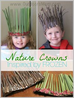 OutdoorsMom: Nature Crowns Inspired By Frozen What a great DIY idea for the kid. - OutdoorsMom: Nature Crowns Inspired By Frozen What a great DIY idea for the kids or grandkids when - Forest School Activities, Nature Activities, Craft Activities, Toddler Activities, Summer Activities, Camping Activities For Kids, Toddler Preschool, Art For Kids, Crafts For Kids
