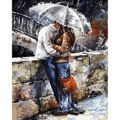 Frameless DIY Painting By Numbers umbrella Oil painting for Living Room Home Decor Canvas Painting Special gift Handpainted Oil Painting Frames, Simple Oil Painting, Rain Painting, Couple Painting, Figure Painting, Oil Painting On Canvas, Home Wall Art, Home Art, Decorating With Pictures