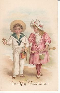 Vintage Valentines PC Children Walking on Beach Pails Shovels
