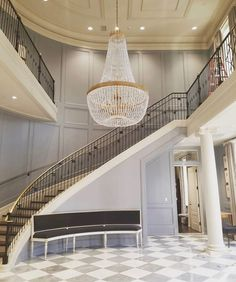 Beautiful curved staircase we completed for Pi Beta Phi at the University of Alabama! #curvedstaircase #staircase #design