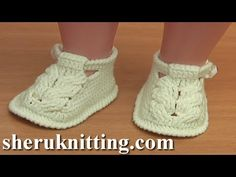 Crochet Button Buckle Bow Shoes Tutorial 37 Part 1 of 2 Zapatitos Para Bebe - YouTube