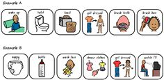 Free Printable Pecs Cards | From I Can Teach My Child : 4 color options of Morning Routine Cards
