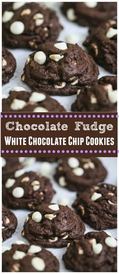 Chocolate Fudge White Chocolate Chip Cookies - Vegan & GF Options - These yummy, stylish Chocolate Fudge White Chocolate Chip Cookies are so full of chocolate fudgy flavor and loaded with rich & creamy white chocolate chips. They are quite irresistible. #whitechocolate #blackandwhitecookies #cookies #chocolatecookies #chocolatechip cookies #holidaycookies #vegan #glutenfree White Chocolate Chip Cookies, Chocolate Fudge, Chocolate Flavors, Chocolate Recipes, Just Desserts, Delicious Desserts, Dessert Recipes, Yummy Food, Fun Food