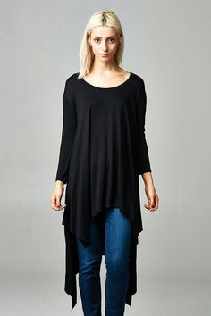 FashionGo | Cherish | T14422 Loose fit, three-quarter length sleeves, round neck, high-low tunic top. Shark bite hems. Has dropped shoulder. This tunic top is made with bamboo fabric that is of heavy weight, drapes well and is very soft. Fabric:96% Bamboo, 4% Spandex Made In:U.S.A