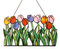 Multi-Color Tulip Floral Design Tiffany Style Stained Cut Glass Window Panel
