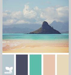 Coastal and Beach Decor: Coastal Decor Color Palette - Mental Vacation Beach Color Schemes, Colour Schemes, Color Combos, Beach Color Palettes, Design Seeds, Relaxing Colors, Beachy Colors, Coastal Colors, Ocean Colors