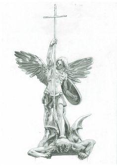 best ideas about Saint Michael St. Michael, Michael Angel, Statue Tattoo, Body Art Tattoos, Tattoo Drawings, Sleeve Tattoos, Tatoos, St Micheal Tattoo, Saint Michael Tattoo