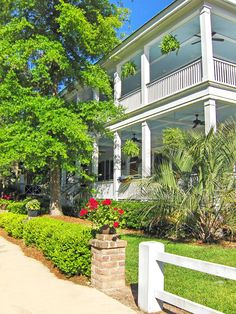 Springtime photo study of the porches and green spaces in the coastal town of Habersham, SC