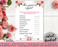 The Price Is Right Game in Bohemian Flowers Bridal Shower Pink And Red Theme, guess the price, bohemian bridal, instant download - 06D7T #bridalshower #bride-to-be #bridetobe