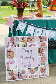 Tropical Flamingo Birthday Party Ideas – Crowning Details This would be wonderful for an adult's milestone birthday party as well to show pictures at all different ages. 1st Birthday Photoshoot, First Birthday Photos, Girl First Birthday, Birthday Pictures, First Birthday Parties, Birthday Party Decorations, Birthday Ideas, Party Pictures, Birthday Images
