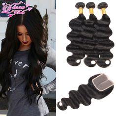 8a Brazilian Virgin Hair With Closure 3/4 Bundles Brazilian Body Wave With Closure Grace Hair Products With Closure Human Hair