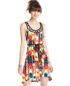 Belle Du Jour Dress, Sleeveless Printed Belted Cutout Asymmetrical A-Line