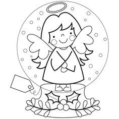 making snow angels coloring pages | 33 Best Snow Globes images | Crystal ball, Crystals ...