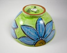 Ceramic Serving Bowl Blue Sunflowers by ClayLickCreekPottery
