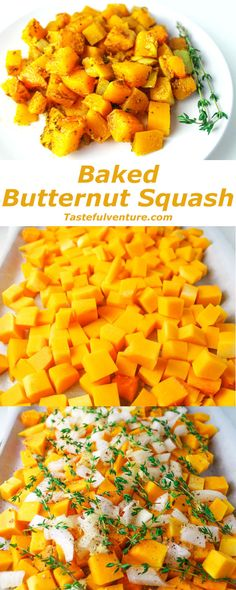 Baked Butternut Squash, a simple healthy side dish. You can make this ahead of time and then add to a crockpot for a crowd pleasing favorite Healthy Sides, Healthy Side Dishes, Side Dishes Easy, Baked Butternut Squash, Baked Squash, Vegetable Sides, Vegetable Recipes, Baked Vegetables, Veggies