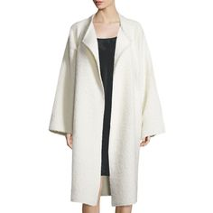 Helmut Lang Long Shaggy Alpaca-Blend Coat ($1,390) ❤ liked on Polyvore featuring outerwear, coats, cream, cream coat, long oversized coat, white oversized coat, leather-sleeve coats and white coat