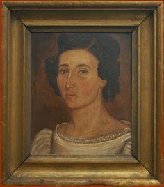 Attributed to Sheldon Peck American 1797 - 1868  Sheldon Peck's Beautiful Woman ,circa1825  Folk Art, Folk Paintings  19.25 x 17 inches, framed