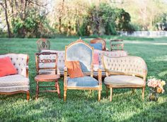 mismatched ceremony chairs  Available from Bella Villa Antiques Shop & Vintage Rentals