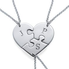 Do you have more than one BFF? If so, a regular breakable heart just won't do! But we have something that will work, the Puzzle Piece Necklace for Three with Initial! This puzzle piece necklace actually breaks into three best friend necklaces! You can get any initial you want on each individual puzzle piece. If you are looking for best friend necklaces for 3, look no further than this one. Keep a piece for yourself and give the other two puzzle piece necklaces to the two people who mean the…