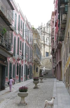 A narrow lane in the old town of Macau, near the famous Ruins of St Paul's.