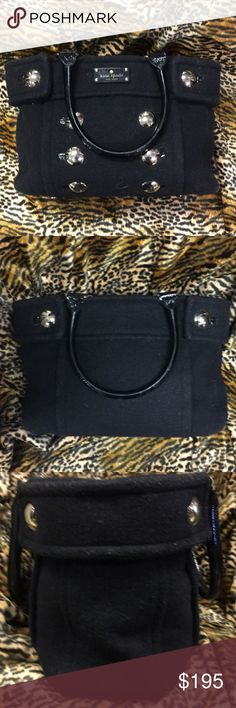 KATE SPADE BLACK WOOL SATCHEL Kate Spade black wool satchel with classic gold hardware and patent leather handles.  This bag is great for travel with large middle zipped pocket, large inside pocket on one side and two smaller pockets on the other side for phone, keys, etc.  Nothing goes better with your black wool coat! Excellent condition kate spade Bags Satchels