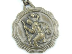 LARGE Vintage French Saint Christopher Catholic Medal - Safe Travel Religious Charm - Rosary Supplies - Call a Priest Pendant Y44 by LuxMeaChristus on Etsy