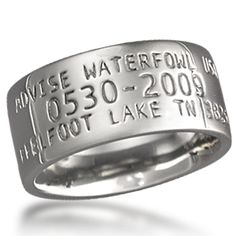 Duck Wedding Band - Are you or your partner passionate about waterfowl? Band your beloved with a precious metal Krikawa duck ring. Like an actual duck band with its unique ID number, make yours one-of-a-kind with your wedding date or meaningful location.