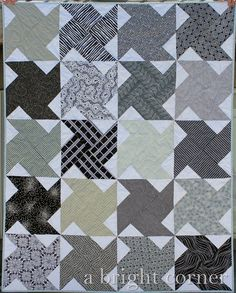 "Whirled Quilt in Black and White | A Bright Corner (with link to block tutorial). Quilt measures 48"" x 60""."