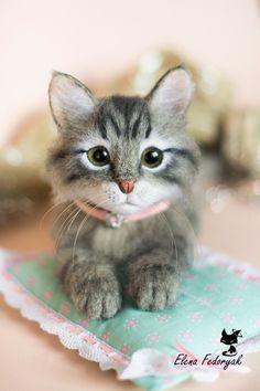 Купить Бася - котик, котенок, кошка, валяная игрушка, валяние из шерсти, котенок из шерсти