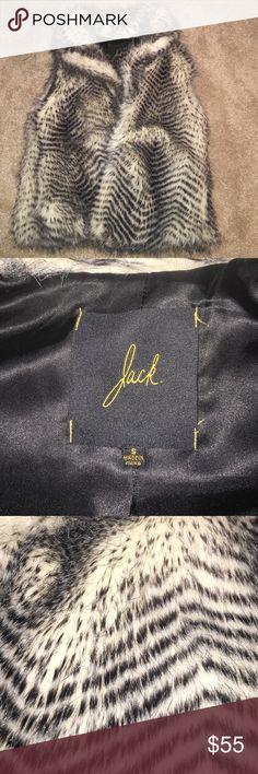 Faux Fur Vest Faux Black & White Fur Vest Jack by BB Dakota Jackets & Coats Vests