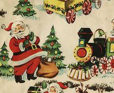 Sheet of Vintage Christmas Wrapping Paper-Santa, Reindeer, Trains,etc 1940s-50s | eBay