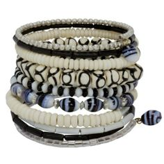 Ten Turn Bead and Bone Bracelet - Black & White Global Crafts. $21.99. Handmade in India by Artisans of Community Friendly Movement. Fair Trade Bracelet. 2.75 inches in Diameter, 2 inches Tall. 10 Turns of Glass and Bone Beads. Ships in Jewelry Box for Gift Giviing