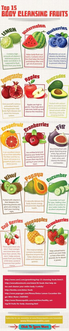 #FastestWayToLoseWeight by EATING, Click to learn more, 15 Body Cleansing Fruits :Fruit fasts or cleanses are said to allow your digestive system to detoxify, get rid of toxins and wastes, and help you to naturally restore harmony and balance to your entire body. In this infographic found on Pinterest, we are introduced to what are said to be the Top 15 Body […] , #HealthyRecipes, #FitnessRecipes, #BurnFatRecipes, #WeightLossRecipes, #WeightLossDiets