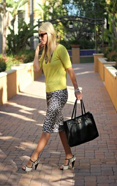 Ground a leopard-print skirt with a simple top and office-ready accessories and it's right for 9-to-5 (and after).