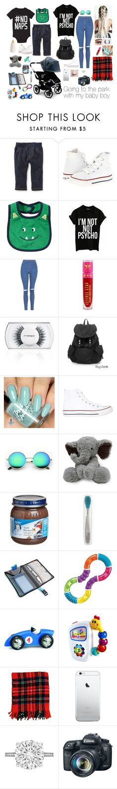 """""""Going to the park with my baby boy"""" by brenda-all-over ❤ liked on Polyvore featuring Converse, Topshop, Jeffree Star, MAC Cosmetics, Gerber, Betteridge and Eos"""