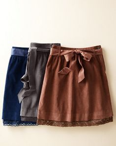 One of Three summer weekend skirts Lace-Trimmed Corduroy Skirt Sweet Style, Mom Style, Cute Skirts, Women's Skirts, Corduroy Skirt, Winter Fashion Outfits, Modest Outfits, Fashion Forward, Casual